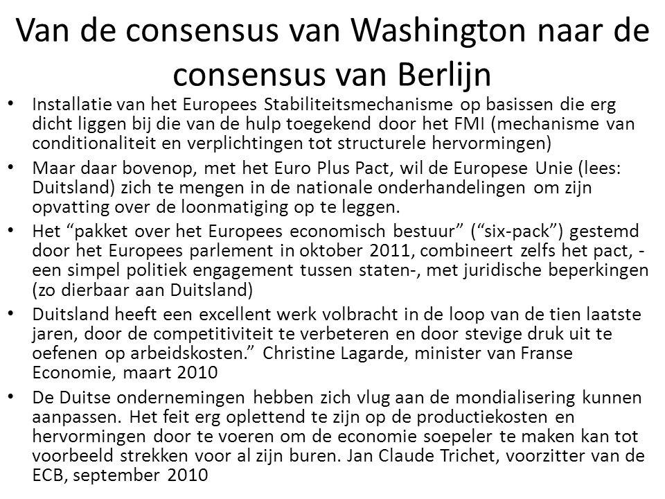 Van de consensus van Washington naar de consensus van Berlijn Installatie van het Europees Stabiliteitsmechanisme op basissen die erg dicht liggen bij