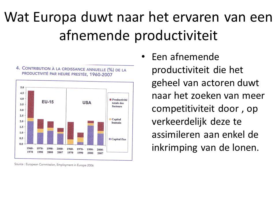 Wat Europa duwt naar het ervaren van een afnemende productiviteit Een afnemende productiviteit die het geheel van actoren duwt naar het zoeken van mee