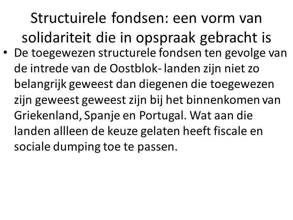 Structuirele fondsen: een vorm van solidariteit die in opspraak gebracht is De toegewezen structurele fondsen ten gevolge van de intrede van de Oostbl
