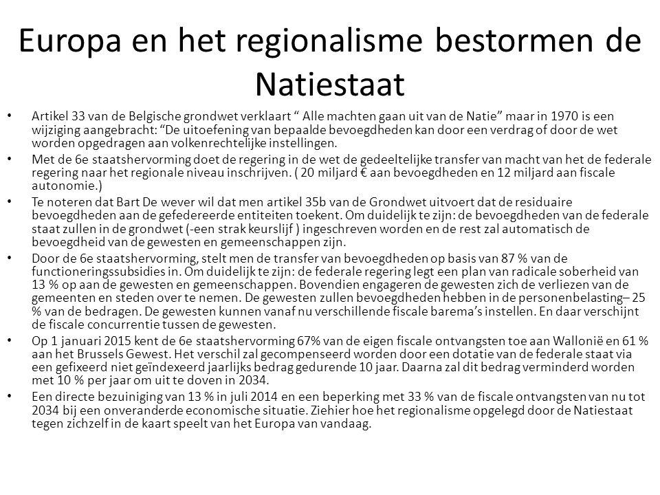 """Europa en het regionalisme bestormen de Natiestaat Artikel 33 van de Belgische grondwet verklaart """" Alle machten gaan uit van de Natie"""" maar in 1970 i"""