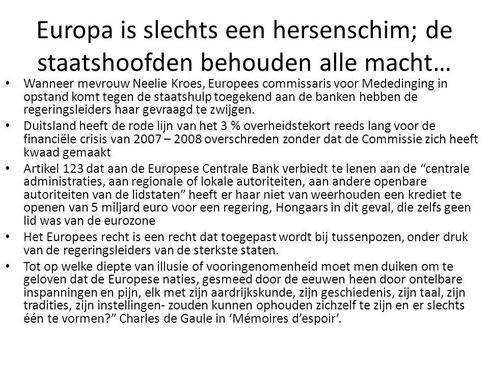 Europa is slechts een hersenschim; de staatshoofden behouden alle macht… Wanneer mevrouw Neelie Kroes, Europees commissaris voor Mededinging in opstan