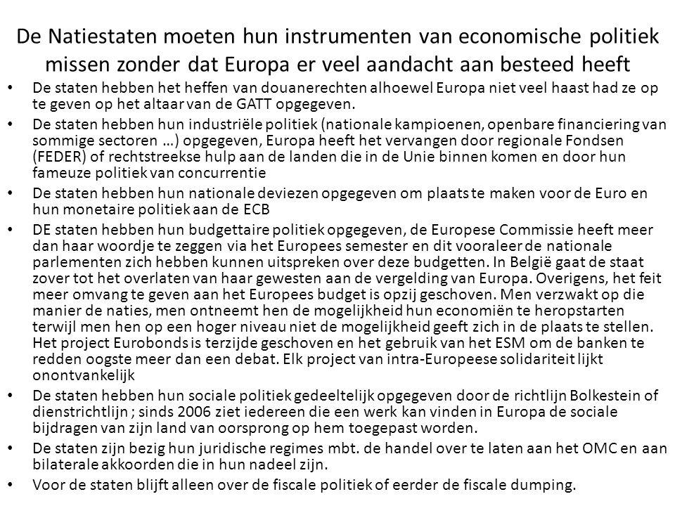 De Natiestaten moeten hun instrumenten van economische politiek missen zonder dat Europa er veel aandacht aan besteed heeft De staten hebben het heffe