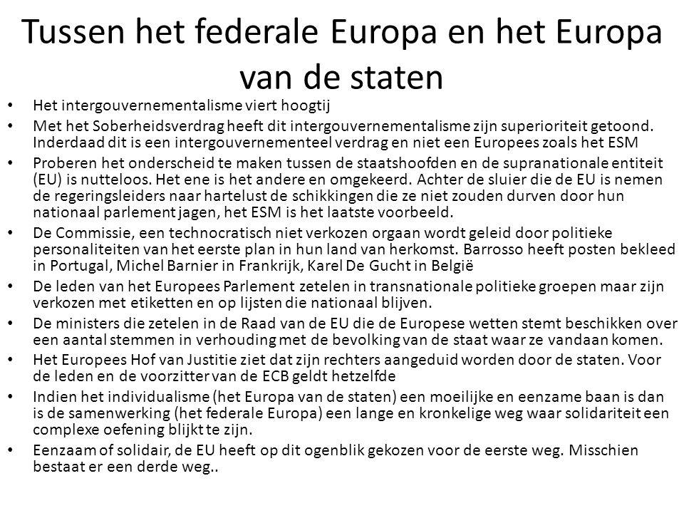 Tussen het federale Europa en het Europa van de staten Het intergouvernementalisme viert hoogtij Met het Soberheidsverdrag heeft dit intergouvernement