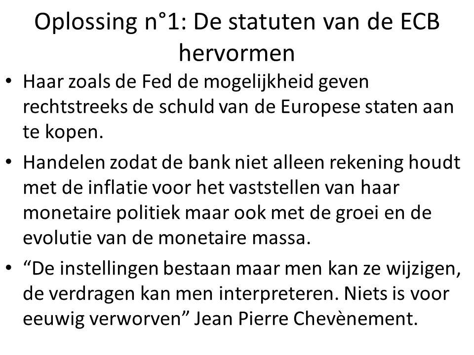 Oplossing n°1: De statuten van de ECB hervormen Haar zoals de Fed de mogelijkheid geven rechtstreeks de schuld van de Europese staten aan te kopen. Ha