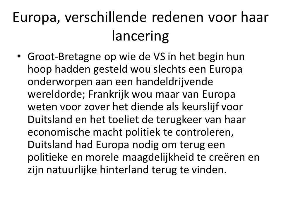 Europa, verschillende redenen voor haar lancering Groot-Bretagne op wie de VS in het begin hun hoop hadden gesteld wou slechts een Europa onderworpen