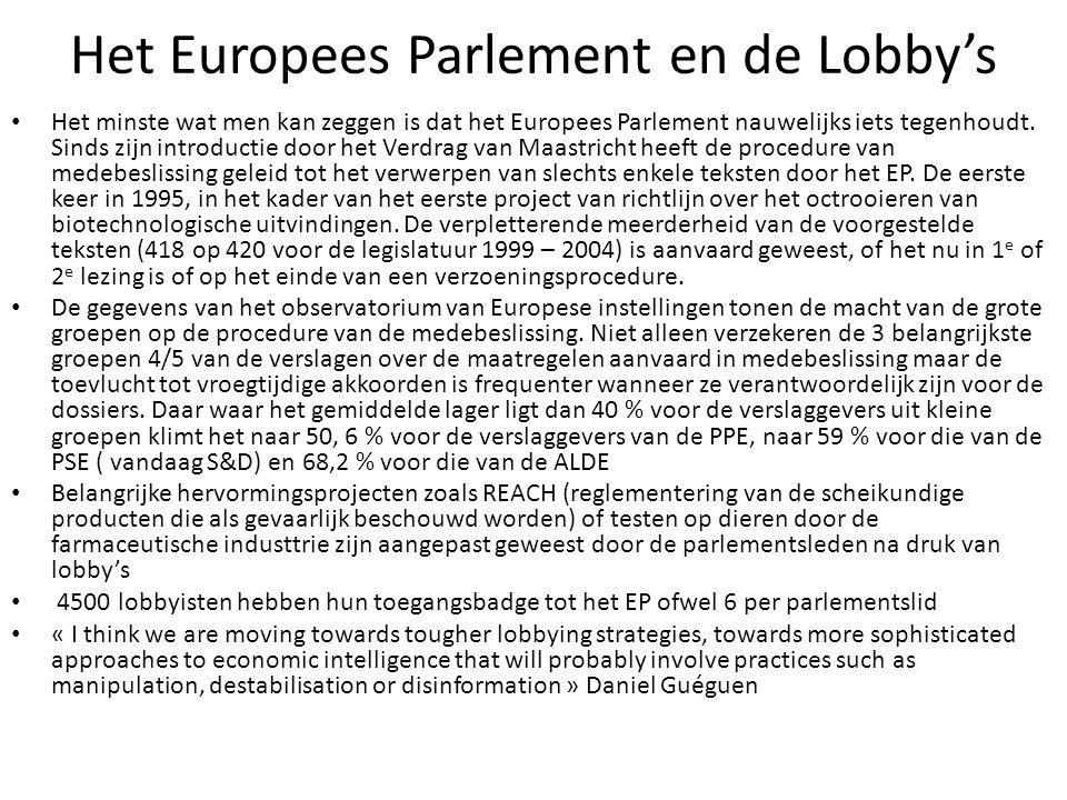Het Europees Parlement en de Lobby's Het minste wat men kan zeggen is dat het Europees Parlement nauwelijks iets tegenhoudt. Sinds zijn introductie do