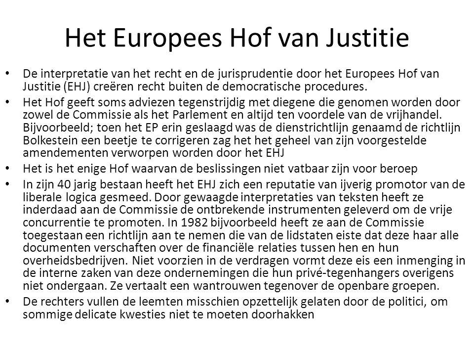 Het Europees Hof van Justitie De interpretatie van het recht en de jurisprudentie door het Europees Hof van Justitie (EHJ) creëren recht buiten de dem