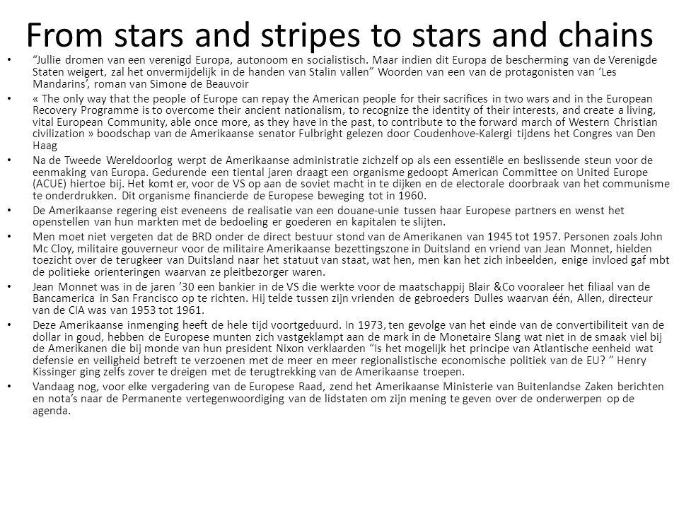 """From stars and stripes to stars and chains """"Jullie dromen van een verenigd Europa, autonoom en socialistisch. Maar indien dit Europa de bescherming va"""