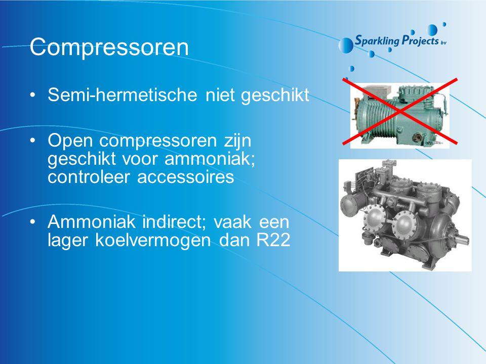 Compressoren Semi-hermetische niet geschikt Open compressoren zijn geschikt voor ammoniak; controleer accessoires Ammoniak indirect; vaak een lager ko