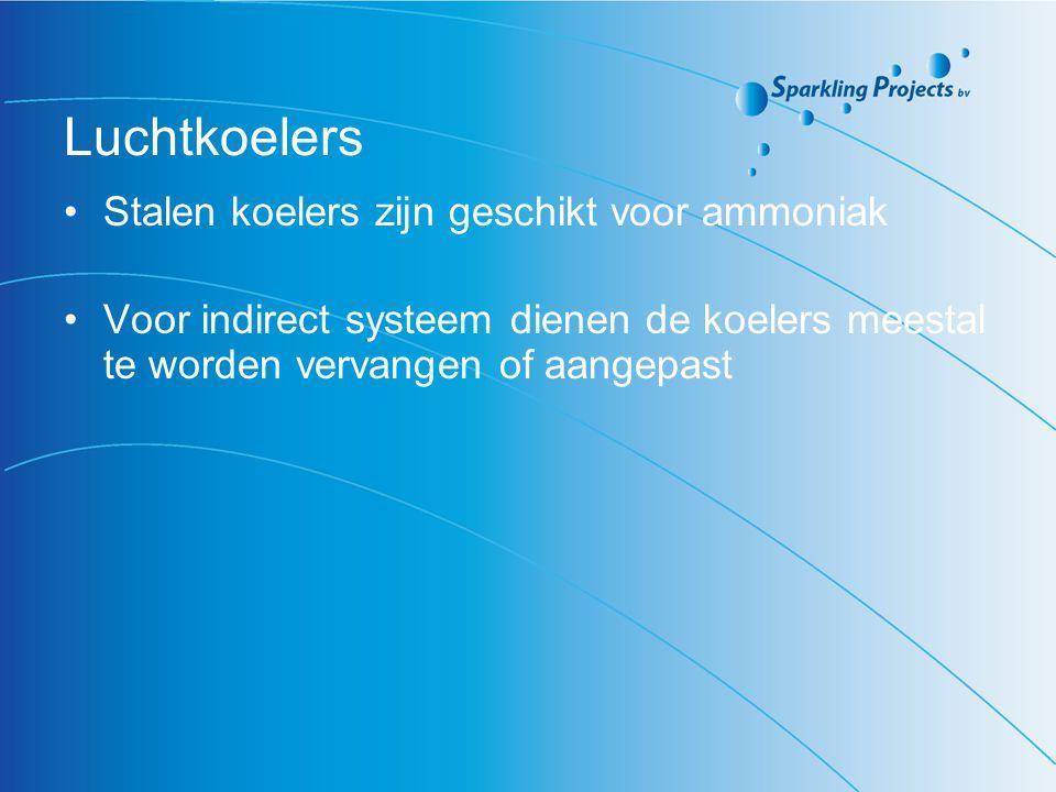 Luchtkoelers Stalen koelers zijn geschikt voor ammoniak Voor indirect systeem dienen de koelers meestal te worden vervangen of aangepast
