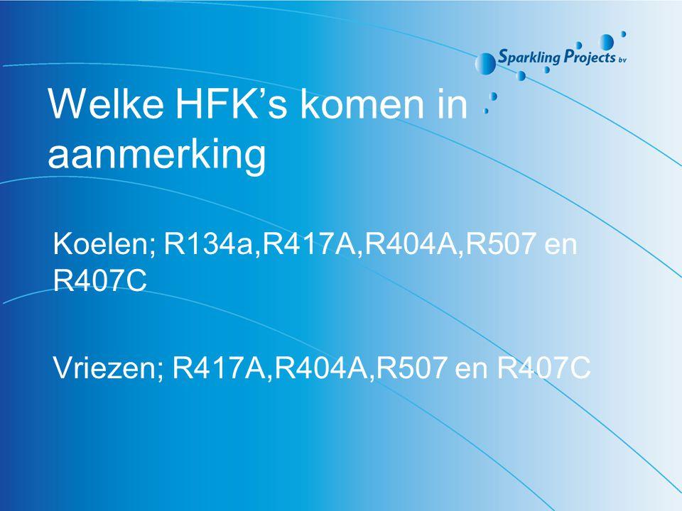 Knelpunten voor HFK ombouw -vervang van ventielen en regelkleppen - leidingwerk -extra compressor plaatsen -E-vermogen ontoereikend -PED eisen