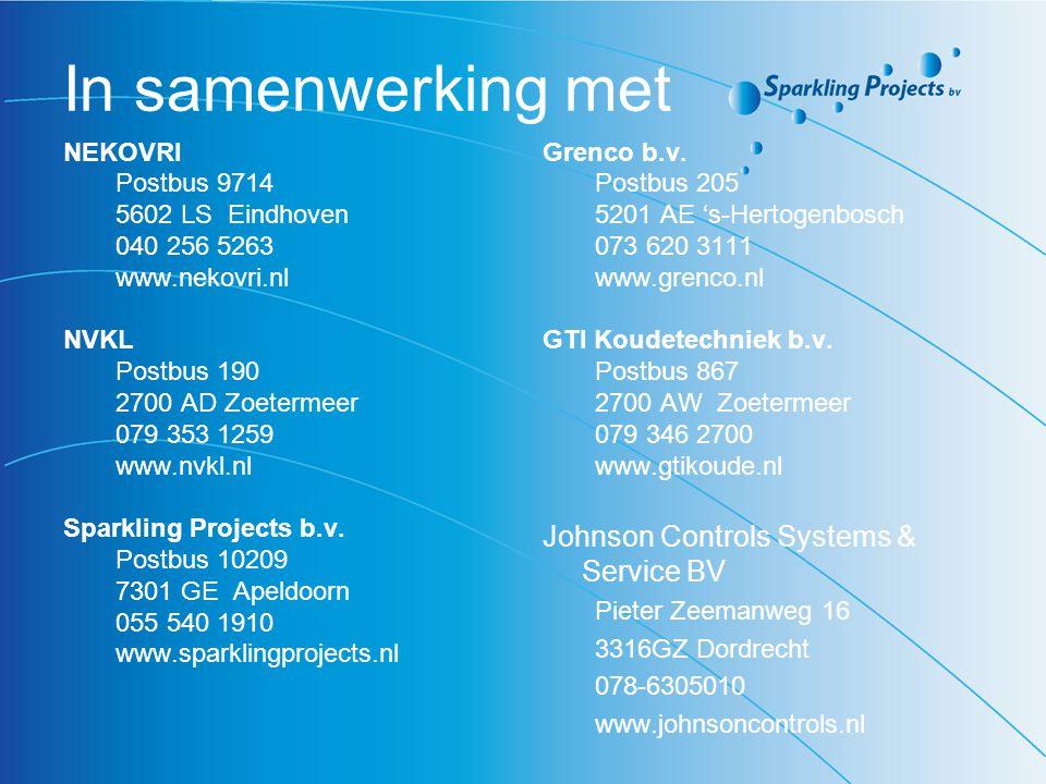 In samenwerking met NEKOVRI Postbus 9714 5602 LS Eindhoven 040 256 5263 www.nekovri.nl NVKL Postbus 190 2700 AD Zoetermeer 079 353 1259 www.nvkl.nl Sp