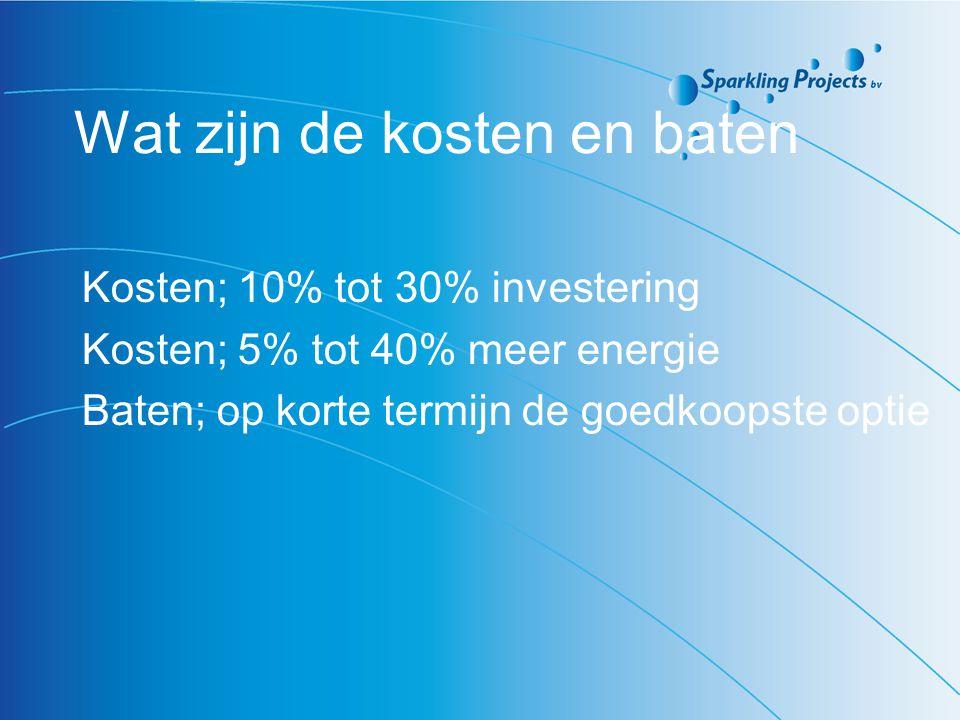 Wat zijn de kosten en baten Kosten; 10% tot 30% investering Kosten; 5% tot 40% meer energie Baten; op korte termijn de goedkoopste optie