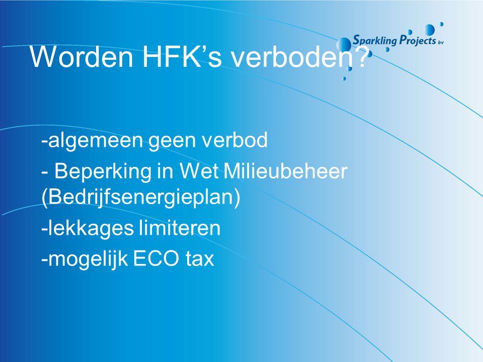 Worden HFK's verboden? -algemeen geen verbod - Beperking in Wet Milieubeheer (Bedrijfsenergieplan) -lekkages limiteren -mogelijk ECO tax