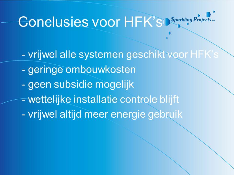 Conclusies voor HFK's - vrijwel alle systemen geschikt voor HFK's - geringe ombouwkosten - geen subsidie mogelijk - wettelijke installatie controle bl