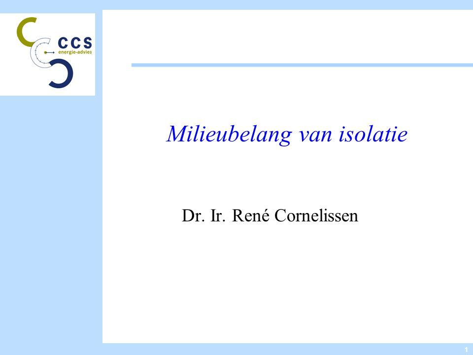 1 Milieubelang van isolatie Dr. Ir. René Cornelissen