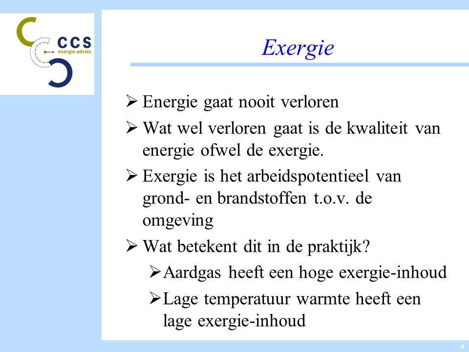 4 Exergie  Energie gaat nooit verloren  Wat wel verloren gaat is de kwaliteit van energie ofwel de exergie.  Exergie is het arbeidspotentieel van g