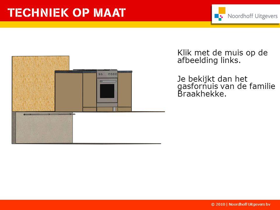 Klik met de muis op de afbeelding links. Je bekijkt dan het gasfornuis van de familie Braakhekke. © 2010 | Noordhoff Uitgevers bv