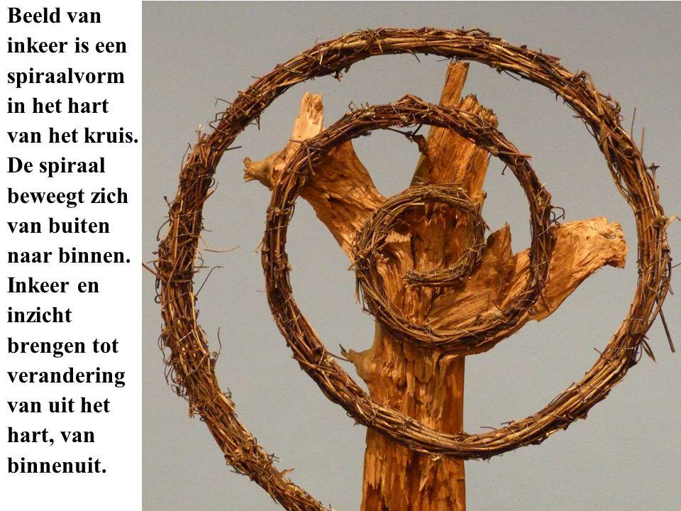 Beeld van inkeer is een spiraalvorm in het hart van het kruis. De spiraal beweegt zich van buiten naar binnen. Inkeer en inzicht brengen tot veranderi
