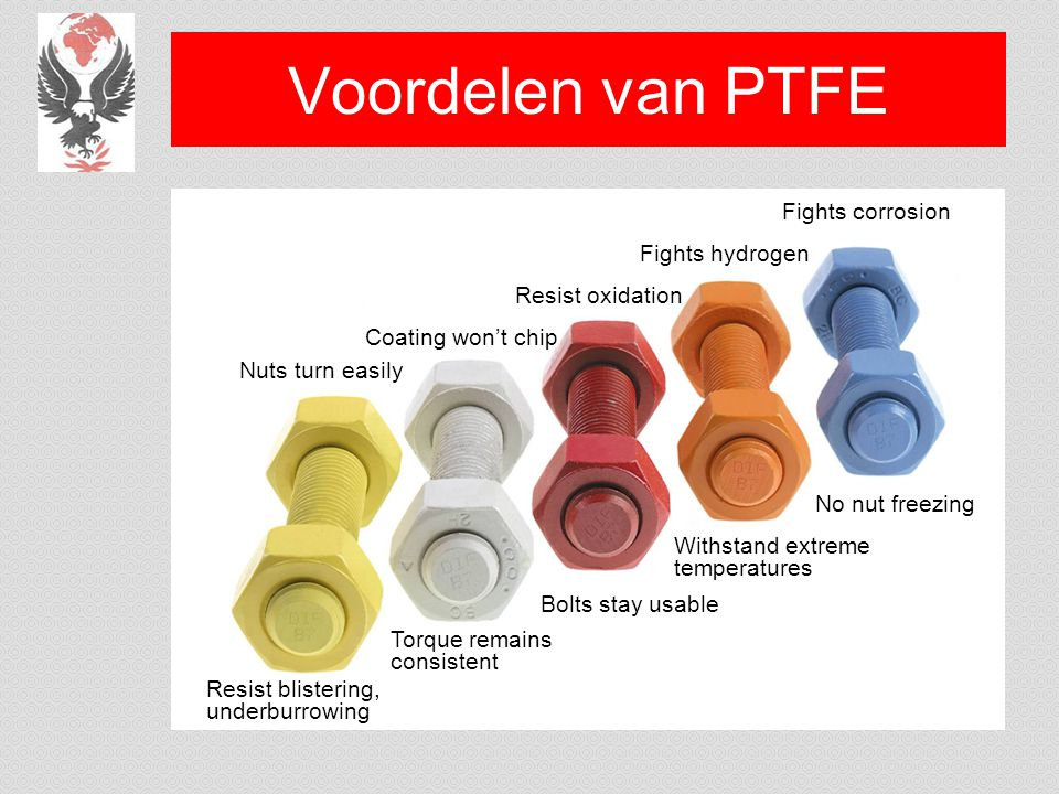 Voordelen van PTFE Bolts stay usable Nuts turn easily Torque remains consistent Resist blistering, underburrowing Coating won't chip Resist oxidation