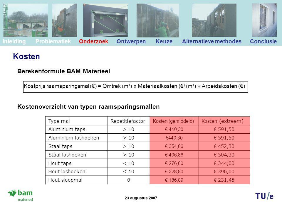 Kosten Kostprijs raamsparingsmal (€) = Omtrek (m¹) x Materiaalkosten (€/ (m¹) + Arbeidskosten (€) Type malRepetitiefactor Kosten (gemiddeld) Kosten (extreem) Aluminium taps> 10 € 440,30 € 591,50 Aluminium loshoeken> 10 €440,30 € 591,50 Staal taps> 10 € 354,86 € 452,30 Staal loshoeken> 10 € 406,86 € 504,30 Hout taps< 10 € 276,80 € 344,00 Hout loshoeken< 10 € 328,80 € 396,00 Hout sloopmal0 € 186,09 € 231,45 Berekenformule BAM Materieel Kostenoverzicht van typen raamsparingsmallen Inleiding Problematiek Onderzoek Ontwerpen Keuze Alternatieve methodes Conclusie