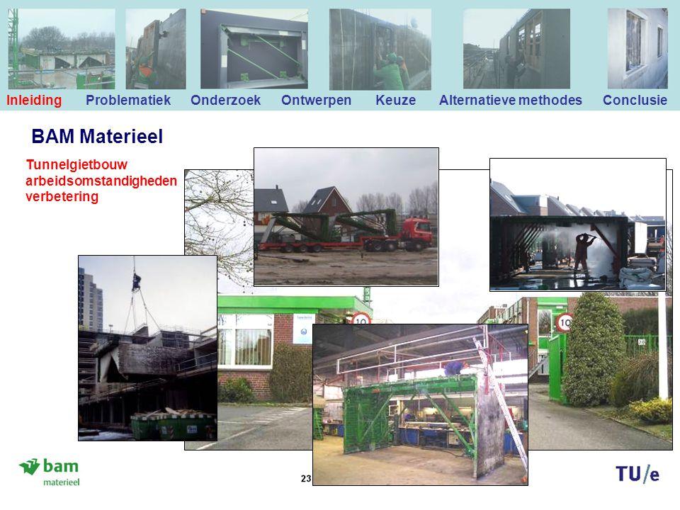 BAM Materieel Inleiding Problematiek Onderzoek Ontwerpen Keuze Alternatieve methodes Conclusie Tunnelgietbouw arbeidsomstandigheden verbetering