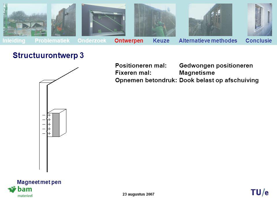 Structuurontwerp 3 Positioneren mal: Gedwongen positioneren Fixeren mal: Magnetisme Opnemen betondruk: Dook belast op afschuiving Inleiding Problemati