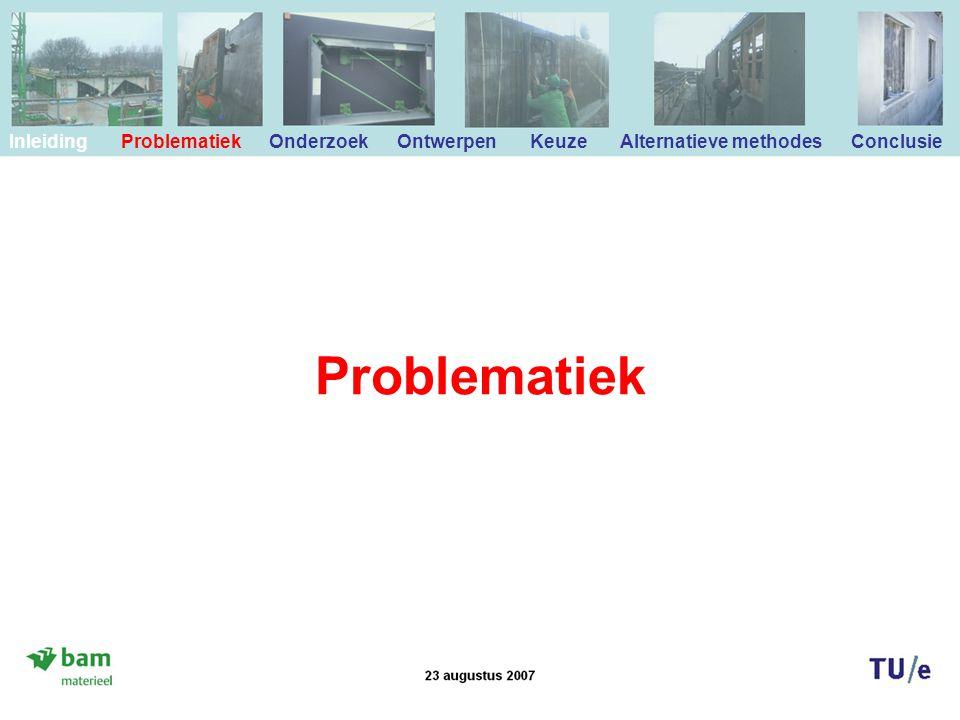 Problematiek Inleiding Problematiek Onderzoek Ontwerpen Keuze Alternatieve methodes Conclusie