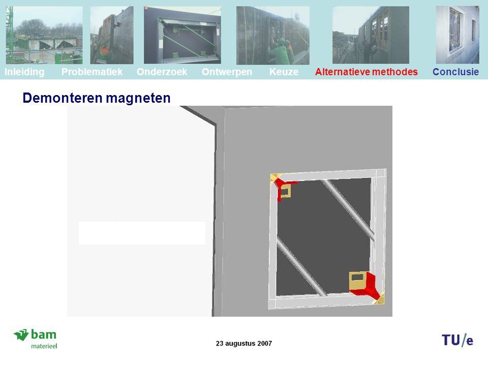 Demonteren magneten Inleiding Problematiek Onderzoek Ontwerpen Keuze Alternatieve methodes Conclusie