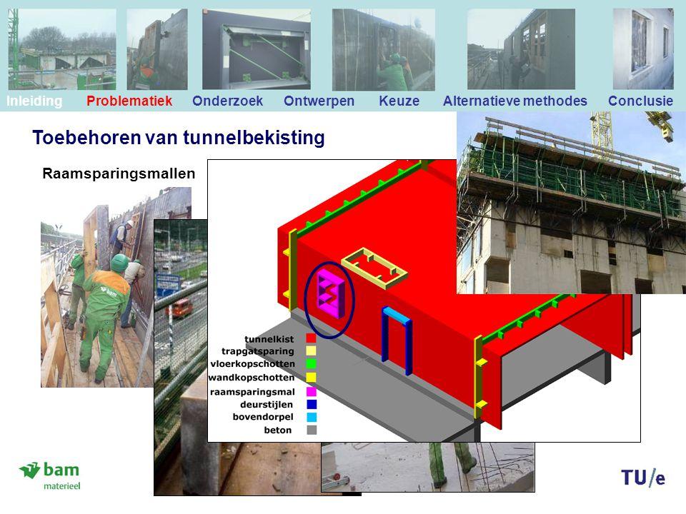 Toebehoren van tunnelbekisting Raamsparingsmallen Inleiding Problematiek Onderzoek Ontwerpen Keuze Alternatieve methodes Conclusie