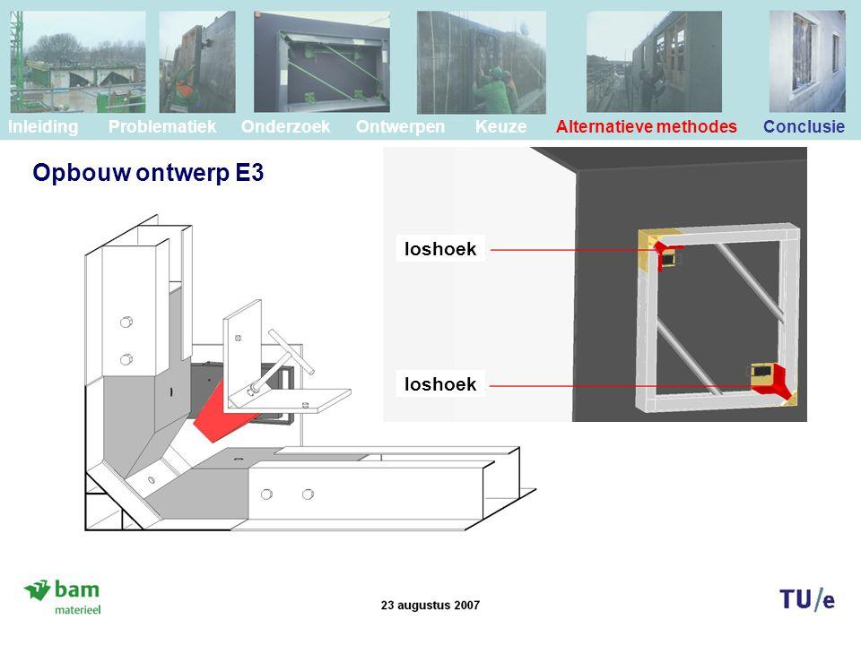 Inleiding Problematiek Onderzoek Ontwerpen Keuze Alternatieve methodes Conclusie loshoek Opbouw ontwerp E3