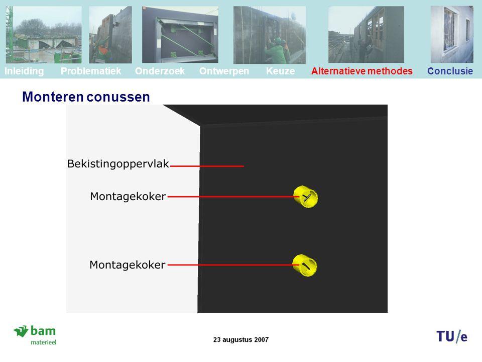 Monteren conussen Inleiding Problematiek Onderzoek Ontwerpen Keuze Alternatieve methodes Conclusie