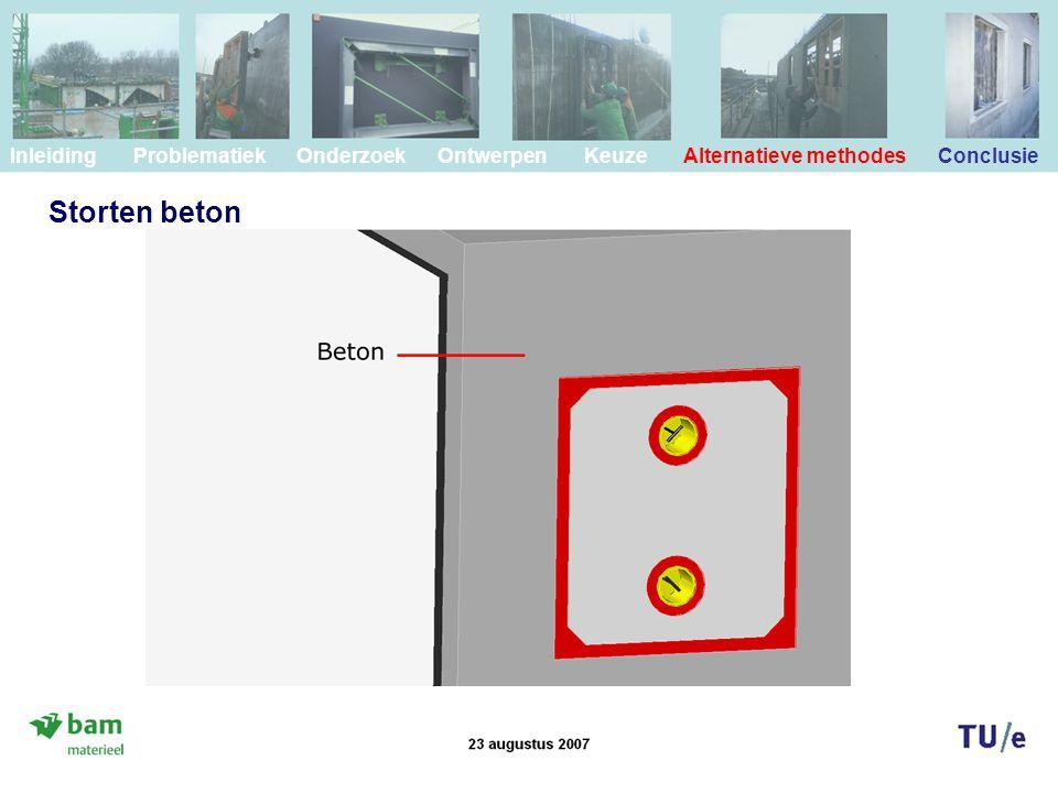 Storten beton Inleiding Problematiek Onderzoek Ontwerpen Keuze Alternatieve methodes Conclusie
