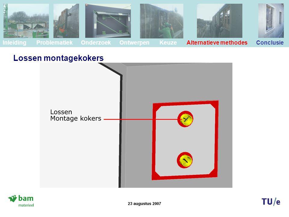 Lossen montagekokers Inleiding Problematiek Onderzoek Ontwerpen Keuze Alternatieve methodes Conclusie