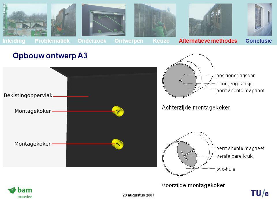 Inleiding Problematiek Onderzoek Ontwerpen Keuze Alternatieve methodes Conclusie Opbouw ontwerp A3