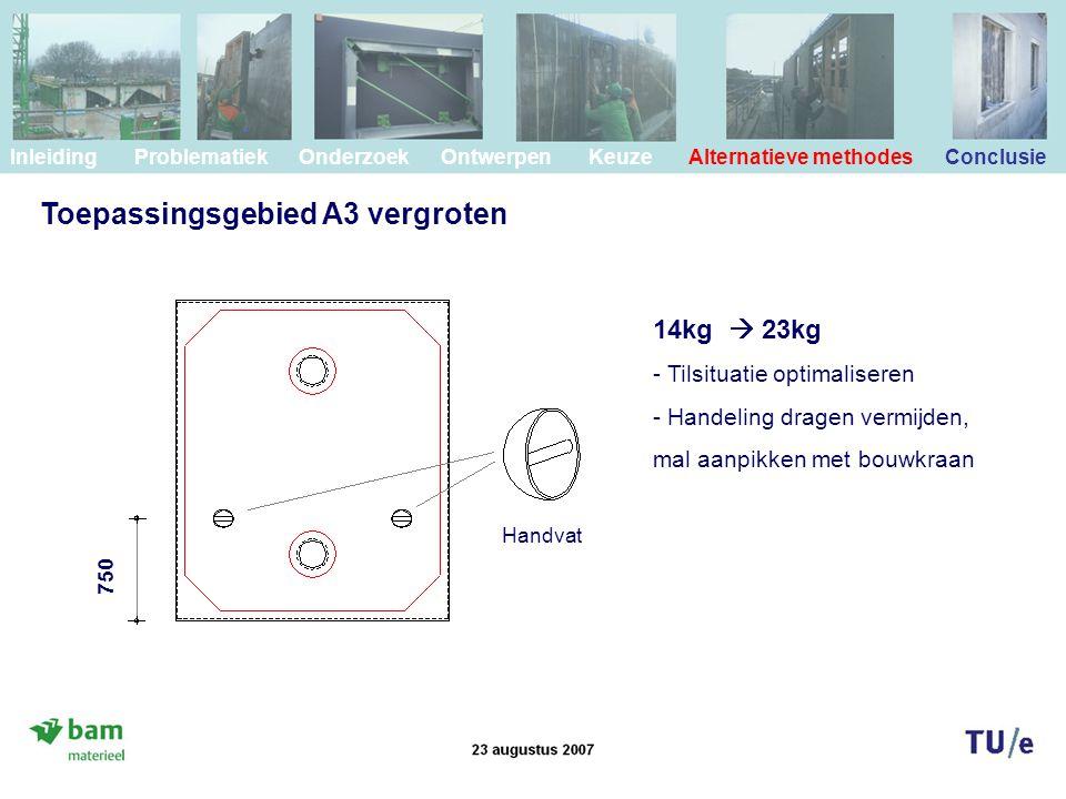 Toepassingsgebied A3 vergroten Inleiding Problematiek Onderzoek Ontwerpen Keuze Alternatieve methodes Conclusie Handvat 750 14kg  23kg - Tilsituatie optimaliseren - Handeling dragen vermijden, mal aanpikken met bouwkraan