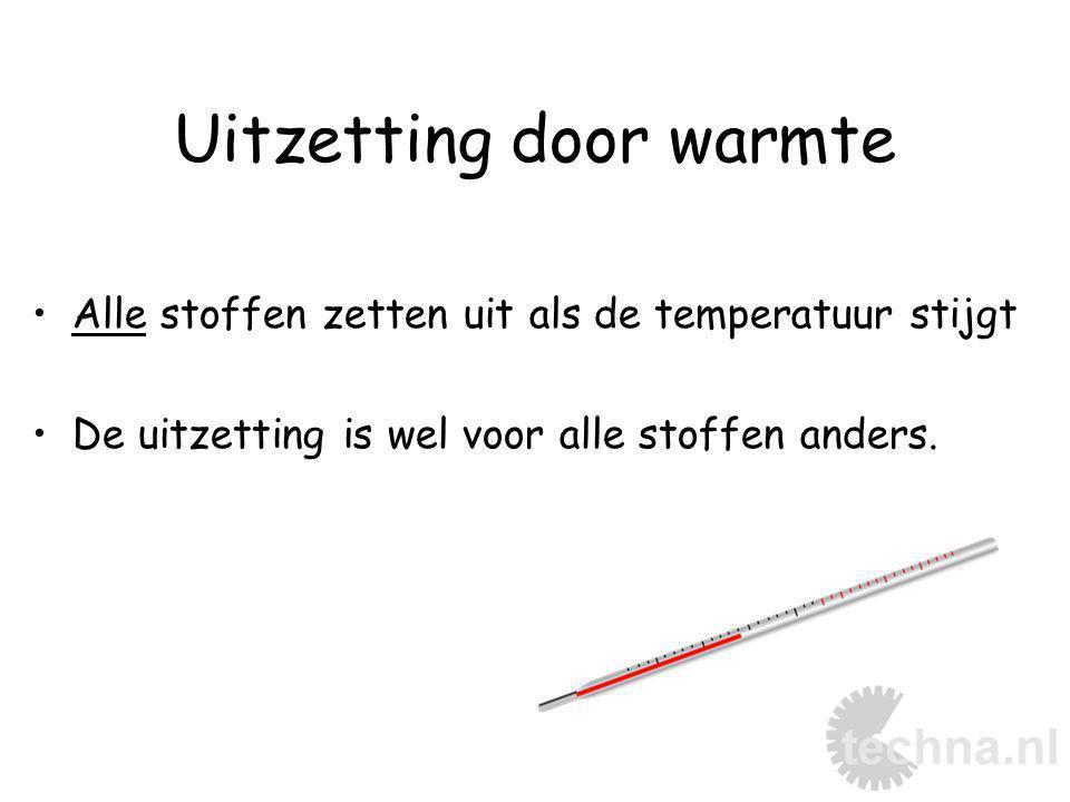 Uitzetting door warmte Alle stoffen zetten uit als de temperatuur stijgt De uitzetting is wel voor alle stoffen anders.