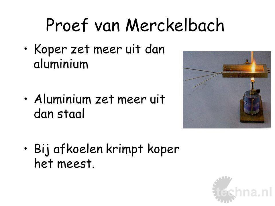 Proef van Merckelbach Koper zet meer uit dan aluminium Aluminium zet meer uit dan staal Bij afkoelen krimpt koper het meest.
