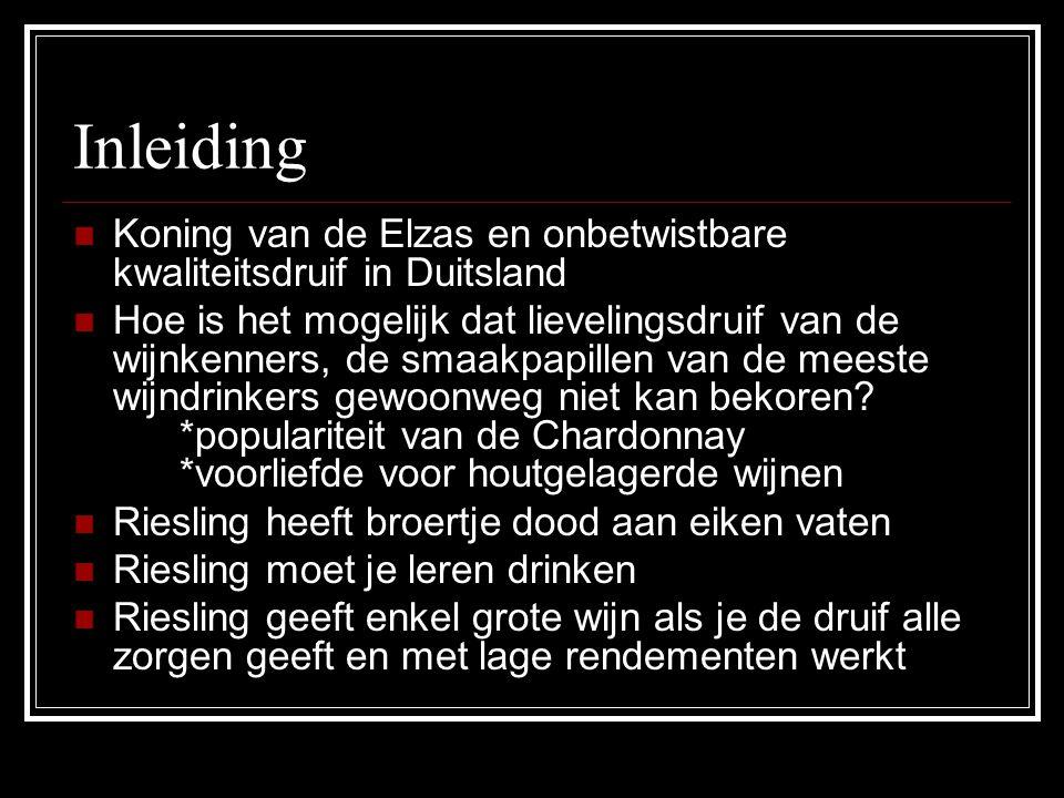 Inleiding Koning van de Elzas en onbetwistbare kwaliteitsdruif in Duitsland Hoe is het mogelijk dat lievelingsdruif van de wijnkenners, de smaakpapill