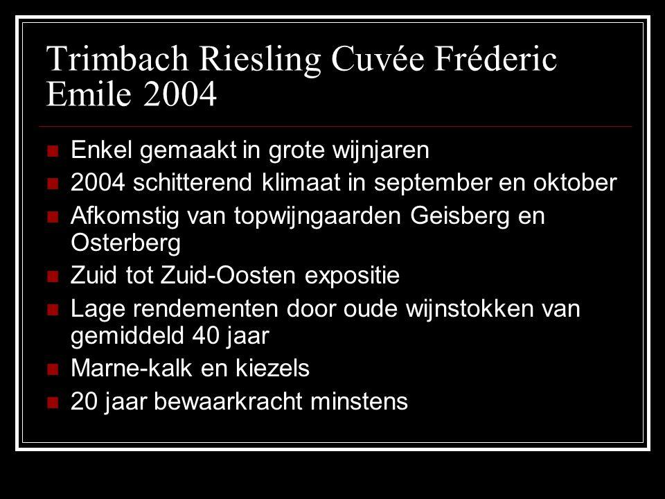 Trimbach Riesling Cuvée Fréderic Emile 2004 Enkel gemaakt in grote wijnjaren 2004 schitterend klimaat in september en oktober Afkomstig van topwijngaa