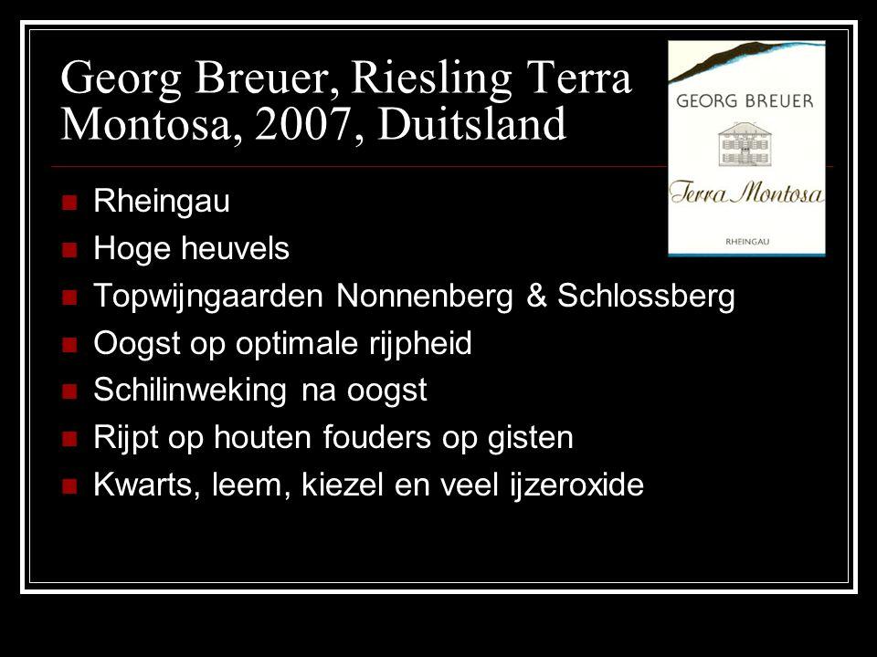 Georg Breuer, Riesling Terra Montosa, 2007, Duitsland Rheingau Hoge heuvels Topwijngaarden Nonnenberg & Schlossberg Oogst op optimale rijpheid Schilin