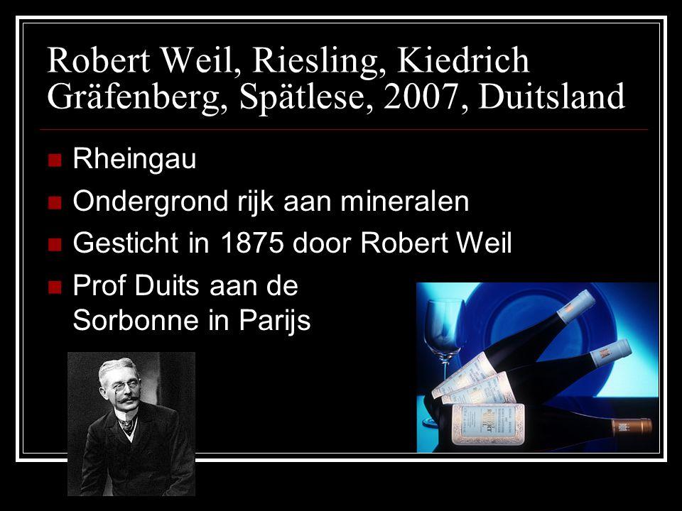 Robert Weil, Riesling, Kiedrich Gräfenberg, Spätlese, 2007, Duitsland Rheingau Ondergrond rijk aan mineralen Gesticht in 1875 door Robert Weil Prof Du