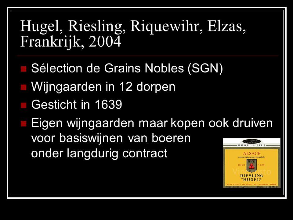 Hugel, Riesling, Riquewihr, Elzas, Frankrijk, 2004 Sélection de Grains Nobles (SGN) Wijngaarden in 12 dorpen Gesticht in 1639 Eigen wijngaarden maar k