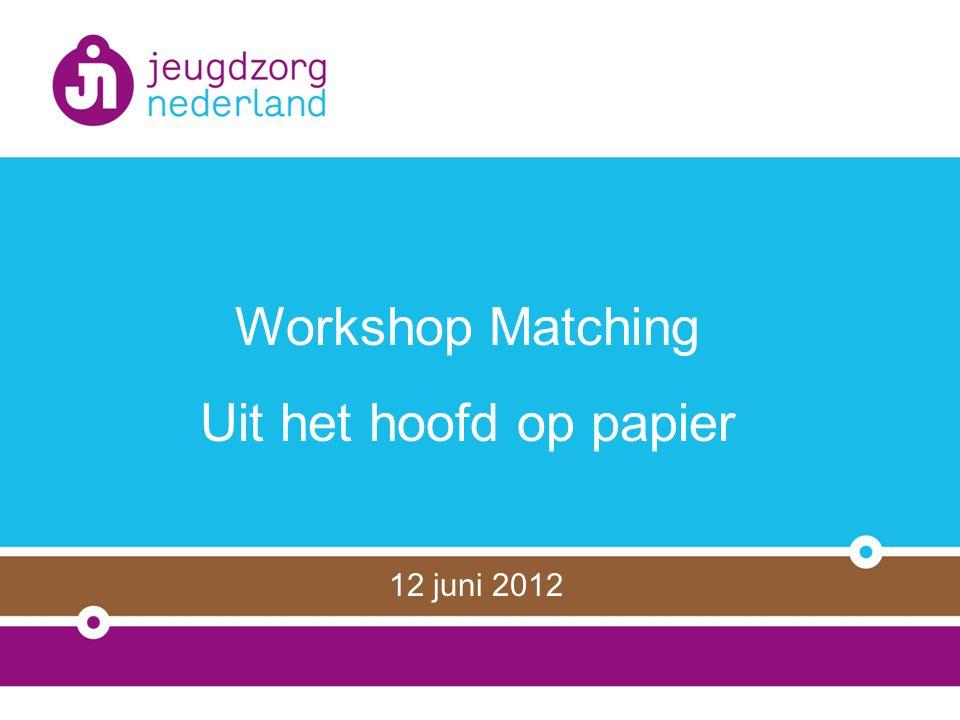 Workshop Matching Uit het hoofd op papier 12 juni 2012