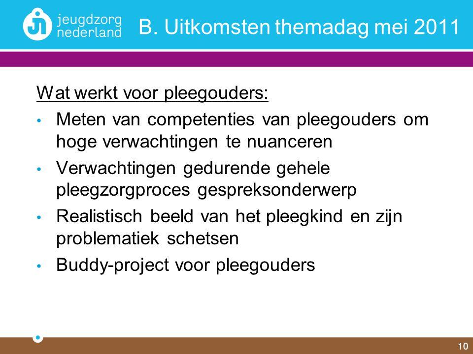 10 B. Uitkomsten themadag mei 2011 Wat werkt voor pleegouders: Meten van competenties van pleegouders om hoge verwachtingen te nuanceren Verwachtingen