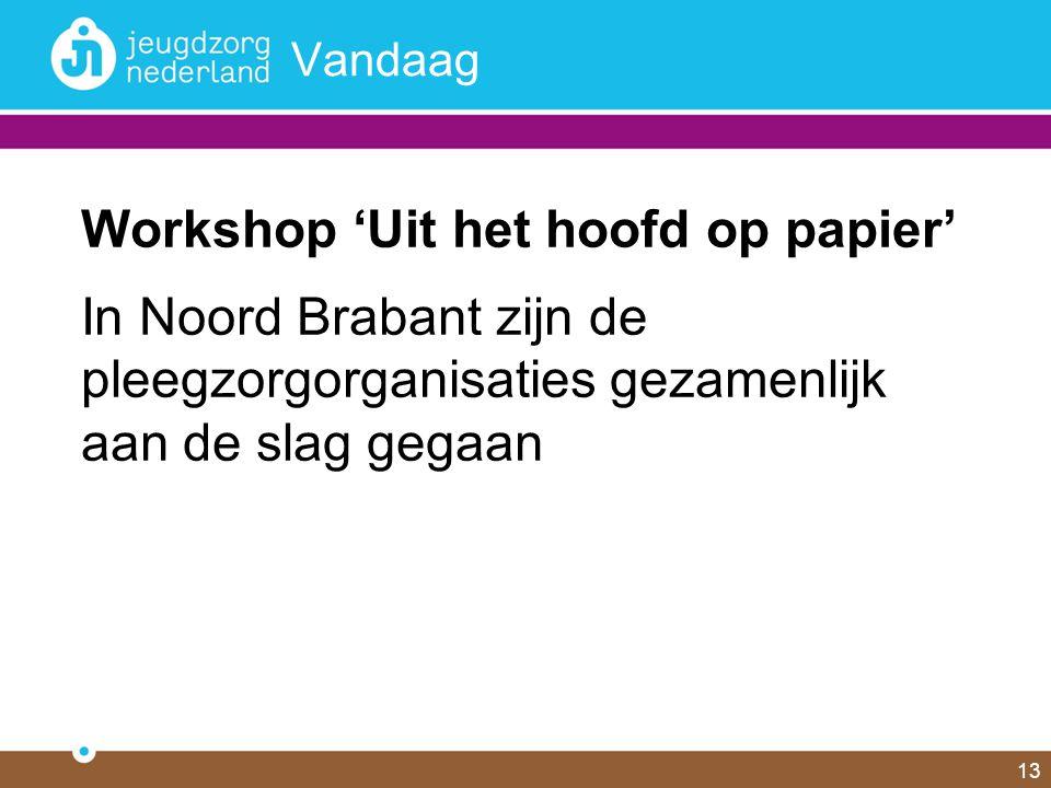 13 Vandaag Workshop 'Uit het hoofd op papier' In Noord Brabant zijn de pleegzorgorganisaties gezamenlijk aan de slag gegaan