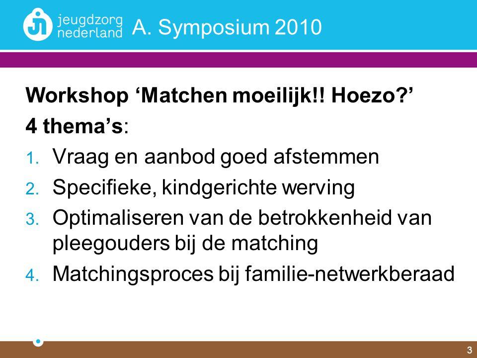 3 A. Symposium 2010 Workshop 'Matchen moeilijk!! Hoezo?' 4 thema's: 1. Vraag en aanbod goed afstemmen 2. Specifieke, kindgerichte werving 3. Optimalis