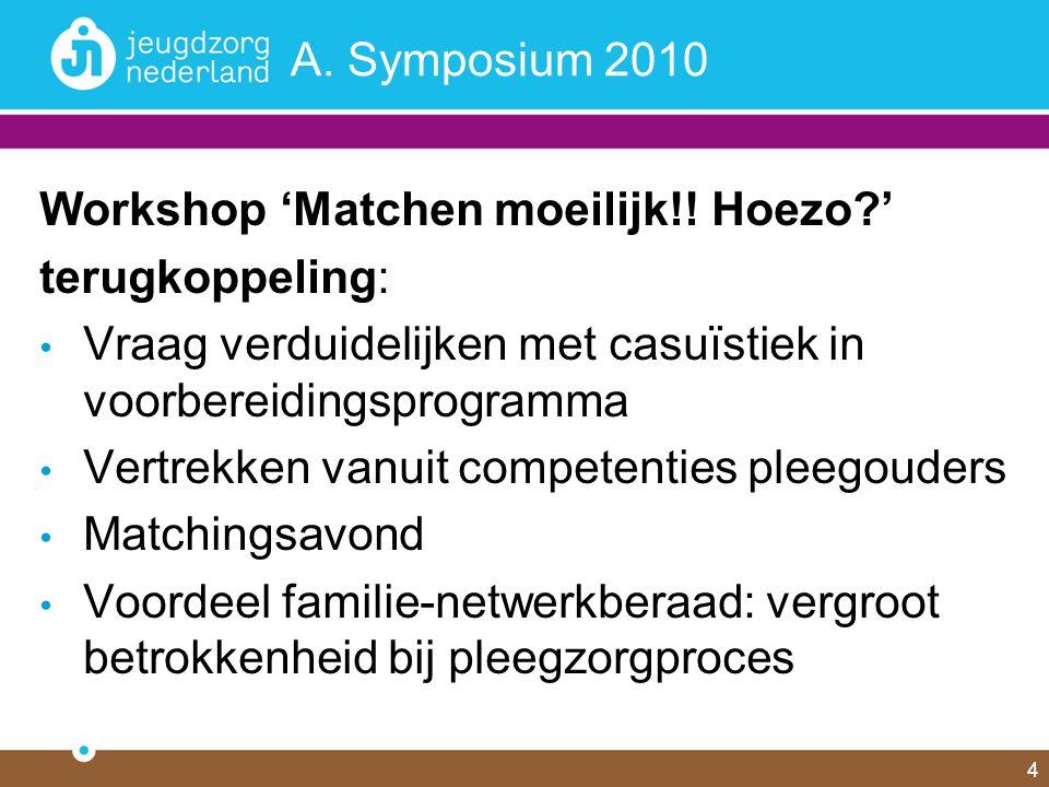 4 A. Symposium 2010 Workshop 'Matchen moeilijk!! Hoezo?' terugkoppeling: Vraag verduidelijken met casuïstiek in voorbereidingsprogramma Vertrekken van