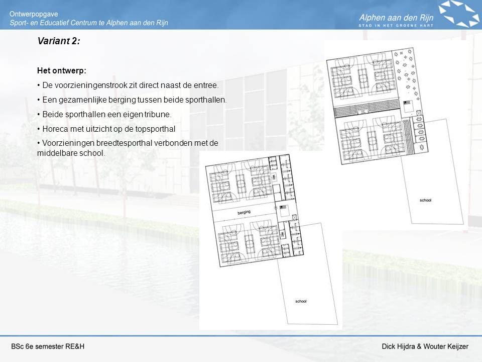 Variant 2: Het ontwerp: De voorzieningenstrook zit direct naast de entree. Een gezamenlijke berging tussen beide sporthallen. Beide sporthallen een ei