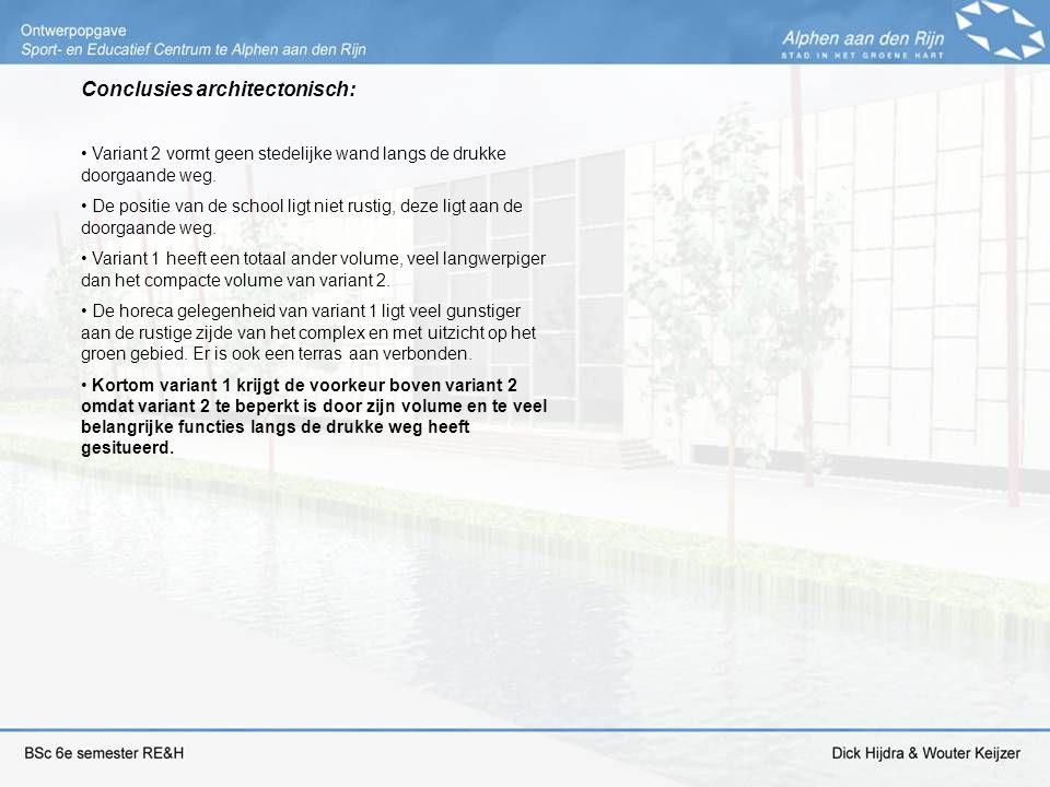 Conclusies architectonisch: Variant 2 vormt geen stedelijke wand langs de drukke doorgaande weg. De positie van de school ligt niet rustig, deze ligt